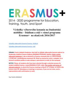 Výsledky výberového konania na študentskú mobilitu – štúdium a