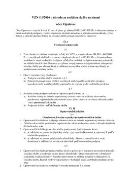 VZN č. 1/2016 o úhrade za sociálnu službu na