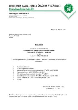 Zasadnutie Akademického senátu PF UPJŠ