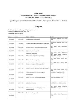 01 GYN - program kurzu pred specializacnou skuskou