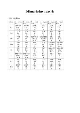 Mimoriadny rozvrh hodín na 15. a 16. marca 2016