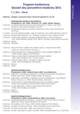 Program konference Slezské dny preventivní medicíny 2016