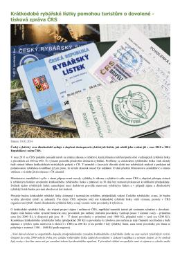 Krátkodobé rybářské lístky pomohou turistům o dovolené