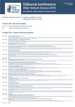 Program Odbornej Konference - Veletrh Věda Výzkum Inovace