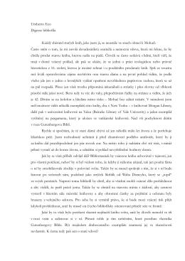 Umberto Eco Digrese bibliofila Každý sběratel starých knih, jako