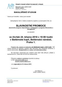 slavnostní promoce - Masarykův ústav vyšších studií