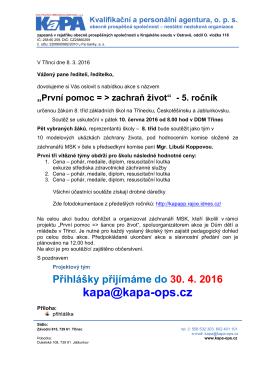 """Pozvánka 2016 - """"První pomoc => zachraň život"""""""