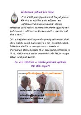 Velikonoční pohled pro misie Za vaši štědrost a ochotu pomáhat
