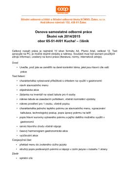 číšník - Střední odborné učiliště a Střední odborná škola