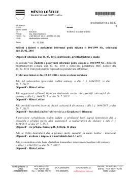 Informace č. 9/2016 - sdělení ke Smlouvě o dílo č.j. 1444