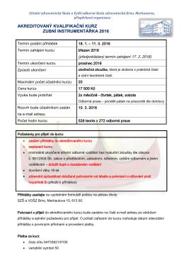 akreditovaný kvalifikační kurz zubní instrumentářka 2016
