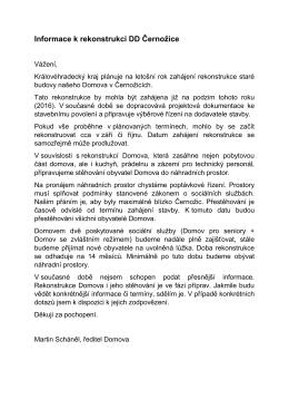 Informace k rekonstrukci DD Černožice