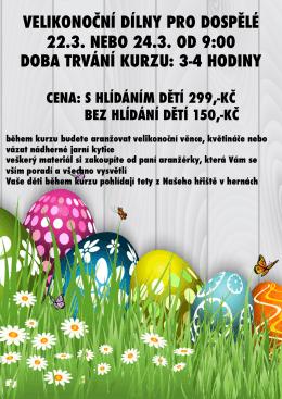 velikonoční dílny pro dospělé 22.3. nebo 24.3. od 9:00 doba trvání