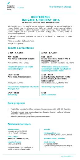 Konference Inovace a Procesy 2016