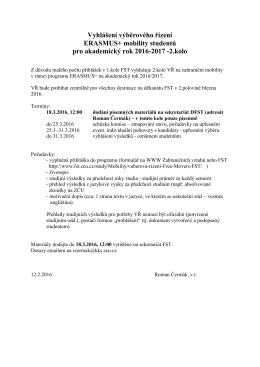 Vyhlášení výběrového řízení ERASMUS+ mobility studentů pro