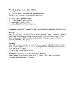Příklady úkolů a seznam přírodnin