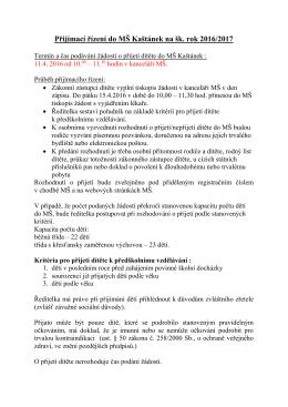 Zápis do MŠ na školní rok 2016/2017