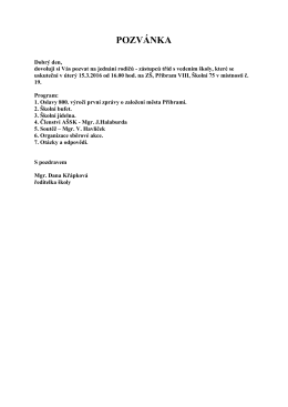 pozvánka - Základní škola, Příbram VIII, Školní 75