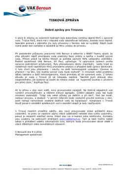 tisková zpráva - Vodovody a kanalizace Beroun