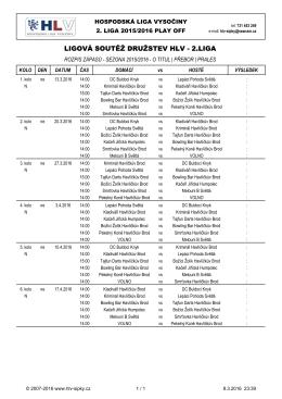 Rozpis zápasů 2.liga - play off