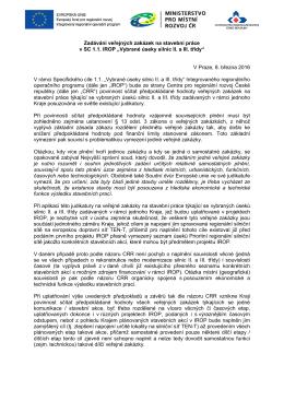 Zadávání veřejných zakázek na stavební práce v SC 1.1. IROP