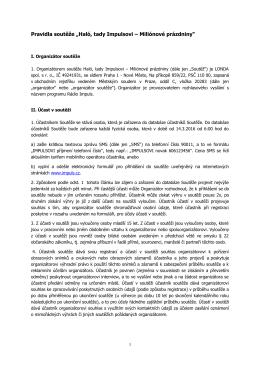 "Pravidla soutěže ""Haló, tady Impulsovi - impuls.cz"