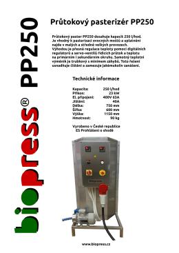 Průtokový pasterizér PP250