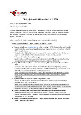Zápis z jednání PS PR ze dne 29. 2. 2016