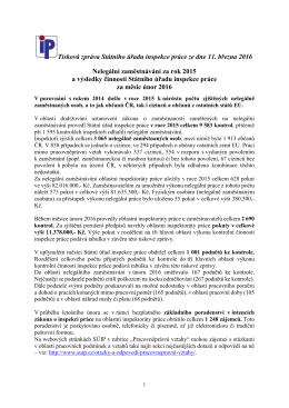 Nelegální zaměstnávání v roce 2015 a výsledky činnosti Státního