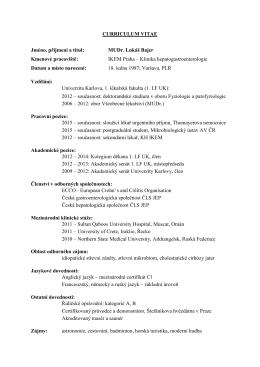 MUDr. Bajer Lukáš - Česká gastroenterologická společnost ČLS JEP