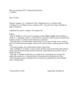 Žákovský parlament Zápis z 8.schůzky ŽP