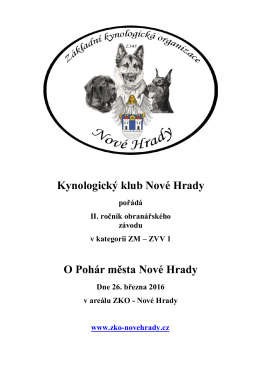 Kynologický klub Nové Hrady O Pohár města Nové Hrady