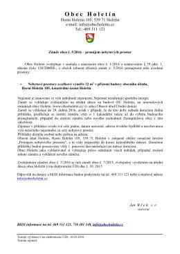 Záměr obce Holetín č. 5/2016 - pronájem nebytových