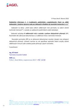Dodatečná informace č. 1 k zadávacím podmínkám