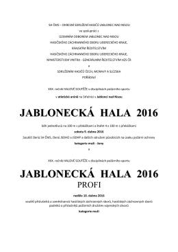 Propozice Jablonecká hala 2016. - Sdružení hasičů Čech, Moravy a