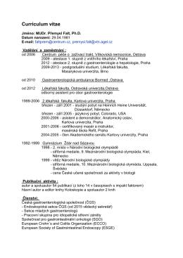 Curriculum vitae - Česká gastroenterologická společnost ČLS JEP