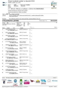 Zimní Jezdecký pohár ve skocích 2016 č.1. SO do 100cm
