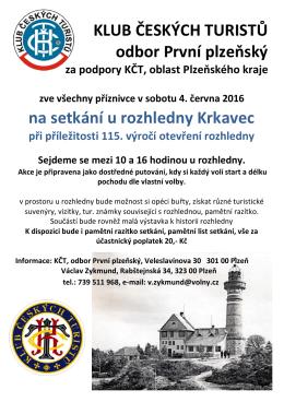 06. 2016 Krkavec - První Plzeňský klub českých turistů Vás vítá