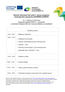 Národní Informační den před 2. výzvou programu meziregionální