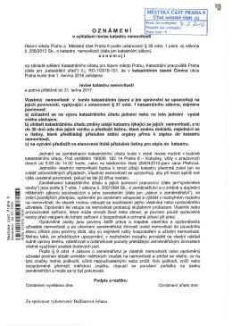 oznámení o vyhlášení revize katastru nemovitostí - k.ú