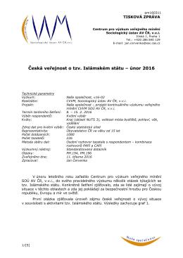 Česká veřejnost o tzv. Islámském státu – únor 2016