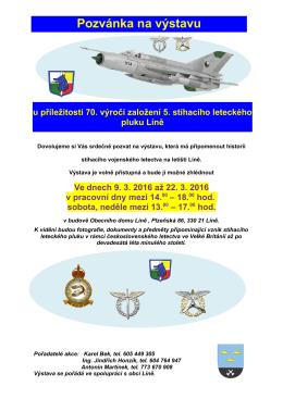Výstava k 70. výročí založení 5. stíhacího leteckého pluku v Líních