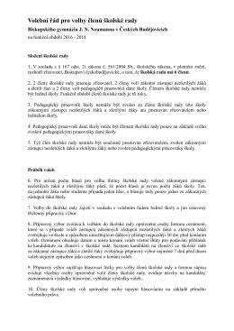 Volební řád pro volby členů školské rady