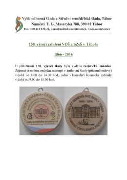 150. výročí založení VOŠ a SZeŠ v Táboře 1866