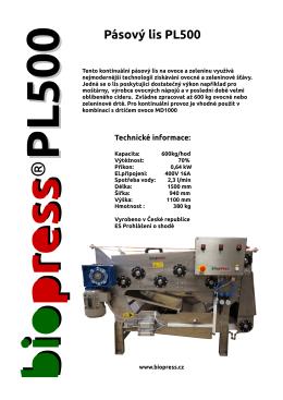 Pásový lis PL500