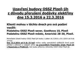 Uzavření budovy OSSZ Plzeň - jih dne 15. 3.