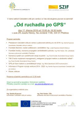"""Pozvánka na seminář """"Od ruchadla po GPS"""""""