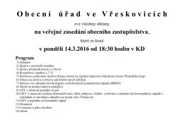 Pozvánka na veřejné zasedání, konaného dne 14.3