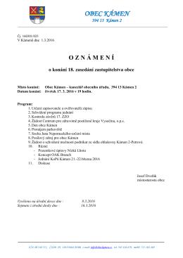 OZN Á MEN Í o konání 18. zasedání zastupitelstva obce