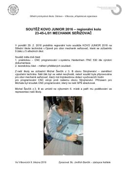 SOUTĚŽ KOVO JUNIOR 2016 - Mechanik seřizovač
